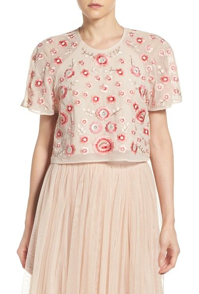 Needle & Thread embellished crop top in petal pink - Shower yourself in cherry blossoms-it looks as good as...