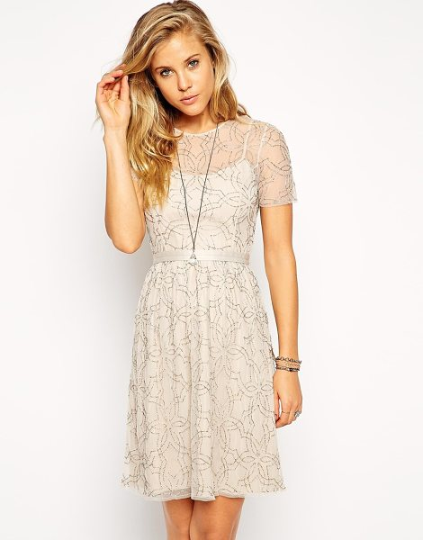 Needle & Thread Embellished geo tulle dress in softpinksilver - Dress by Needle & Thread Lightweight chiffon fabric All...