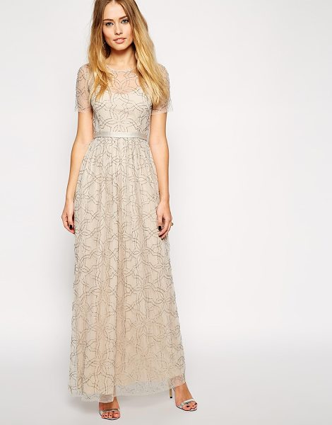 Needle & Thread Embellished geo tulle maxi dress in softpinksilver - Evening dress by Needle & Thread Hand embellished...