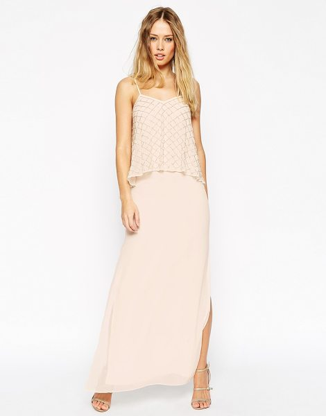 Needle & Thread Embellished tiered geo maxi dress in pink - Dress by Needle Thread, Mid-weight chiffon, V-neckline,...