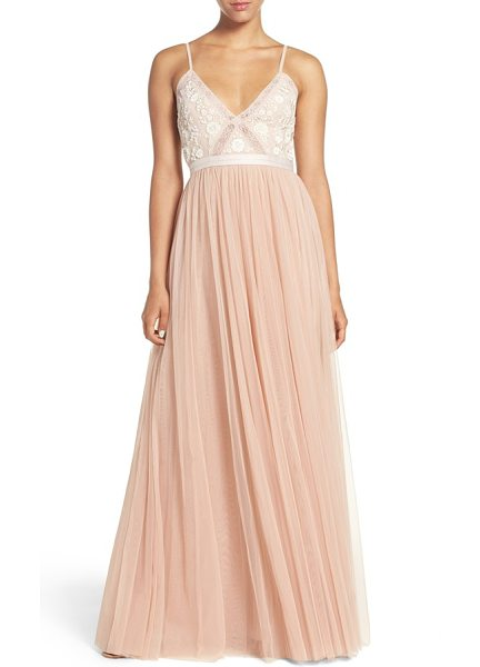 Needle & Thread embroidered bodice tulle gown in blush/ ecru - Intricate embroidery and beadwork inspired by woodland...