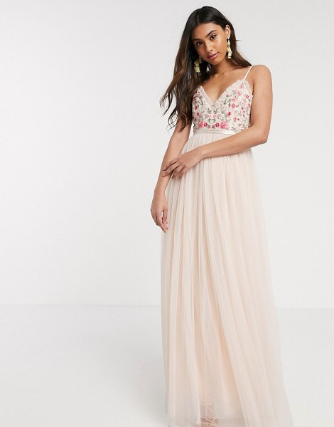 Needle & Thread embroidered cami gown in blush-pink in pink