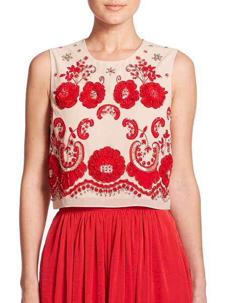 NEEDLE & THREAD Embroidered cropped top - In their signature style, needle & thread uses vibrant...