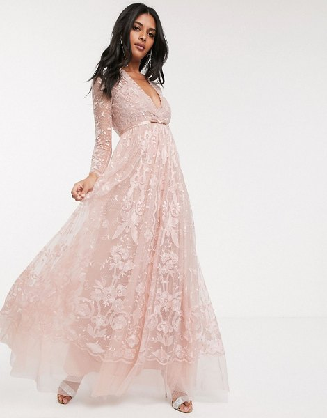 Needle & Thread embroidered floral lace maxi dress in dusty pink in pink