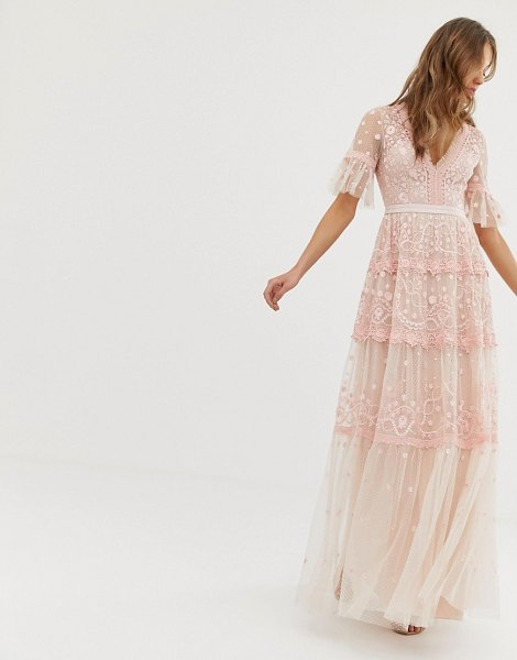 Needle & Thread embroidered maxi dress with flutter sleeve in rose-pink in pink