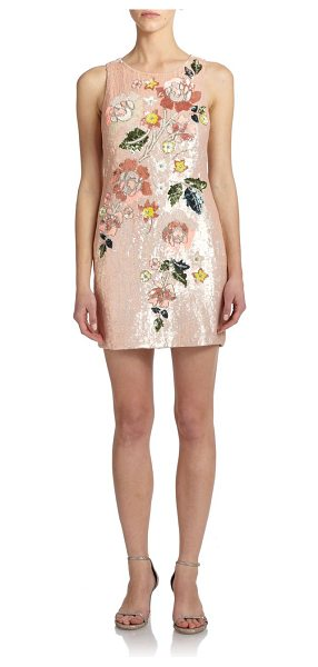 Needle & Thread Embroidered sequin mini dress in lightpink - Patel sequins and floral-beaded embroidery detail this...