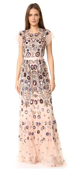 Needle & Thread Enchanted lace maxi dress in blush - Allover beading creates elaborate floral designs on this...