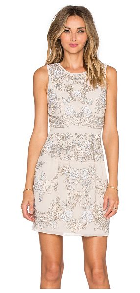 Needle & Thread Etch lace mini dress in beige - Self & Lining: 100% poly. Dry clean only. Fully lined....