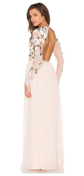 Needle & Thread Floral cluster embellished gown in blush