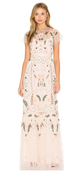 Needle & Thread Floral Embellished Tiered Maxi Dress in peach - Self: 100% nylonLining: 100% poly. Dry clean only. Fully...