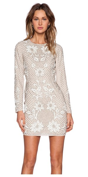 Needle & Thread Floral mesh sequin dress in blush - Self & Lining: 100% poly. Dry clean only. Fully lined....