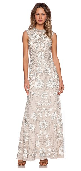 Needle & Thread Floral mesh sequin gown in blush