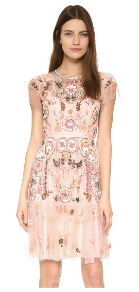 Needle & Thread Floral tiered dress in pastel pink