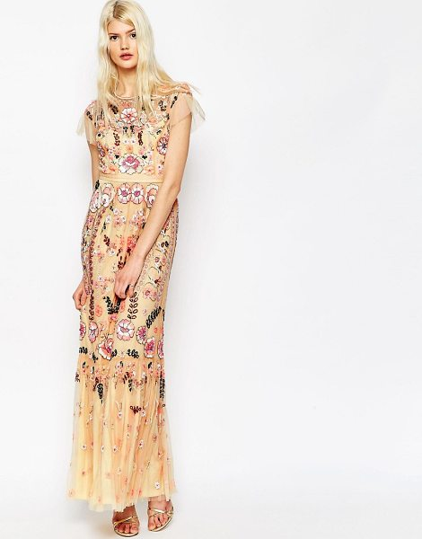 Needle & Thread Floral Tiered Embellished Maxi Dress in pink - Maxi dress by Needle Thread, All-over bead and sequin...