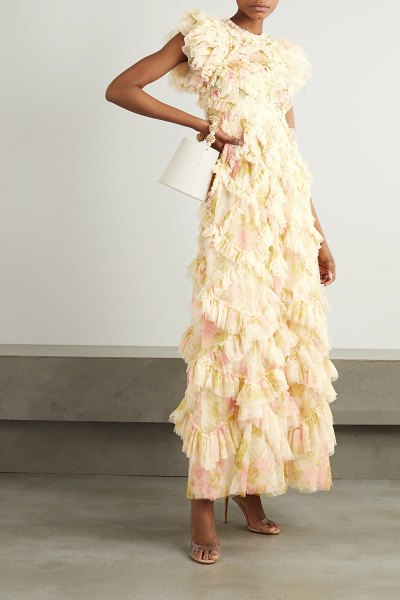 Needle & Thread genevieve rose ruffled floral-print tulle gown in ecru