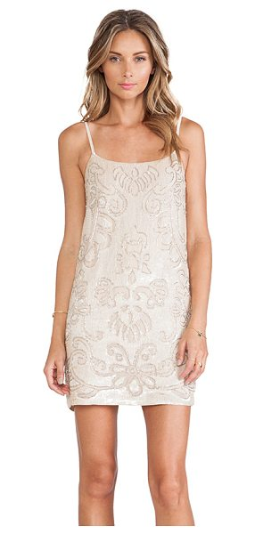Needle & Thread Gloss lace mini dress in blush - Self & Lining: 100% poly. Dry clean only. Neckline to...