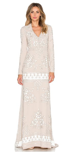 NEEDLE & THREAD Graphic Rose Gown in beige - Self & Lining: 100% poly. Dry clean only. Fully lined....