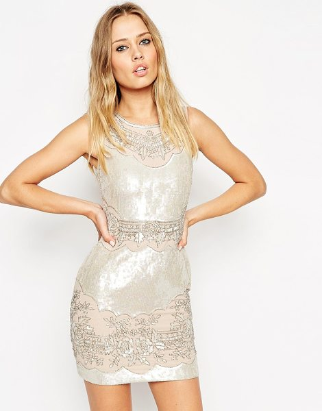 Needle & Thread Iridescent embellished mini dress in rose pearl - Evening dress by Needle & Thread Heavyweight lined...