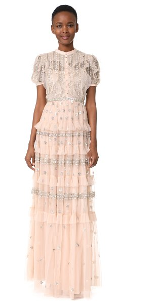 Needle & Thread jet frill gown in petal pink/silver - This victorian-inspired Needle & Thread gown is composed...