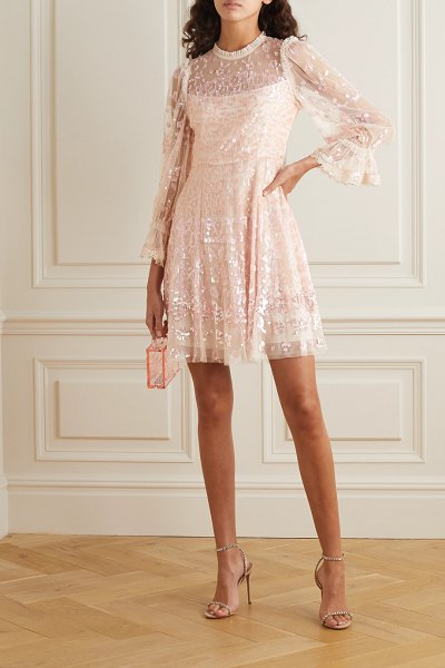 Needle & Thread lace-trimmed sequin-embellished tulle mini dress in blush