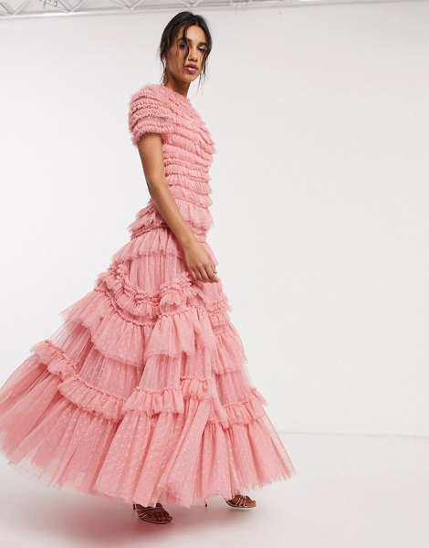 Needle & Thread layered tulle maxi dress in rose pink in pink