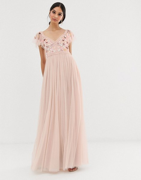 Needle & Thread love heart maxi dress in rose pink in pink