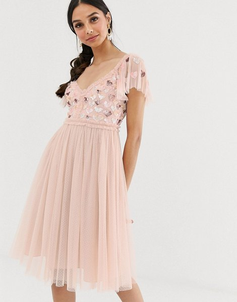 Needle & Thread love heart midi dress in rose pink in pink