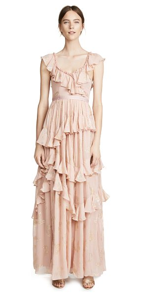 Needle & Thread metallic butterfly gown in vintage rose - Fabric: Chiffon Ruffle detailing Metallic butterflies...