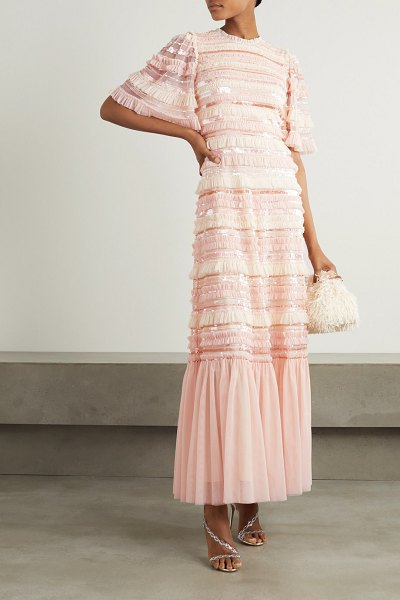 Needle & Thread nancy sequin-embellished ruffled tulle gown in blush