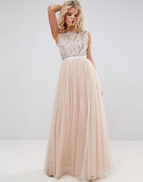 "Needle & Thread embellished gown with frill detail in petalpink - """"Maxi dress by Needle Thread, Beaded and sequin..."