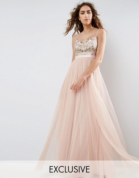 Needle & Thread Needle and Thread Embroidered Bodice Maxi Dress With Tulle Skirt in pink - Maxi dress by Needle Thread, Sequin embellished top,...