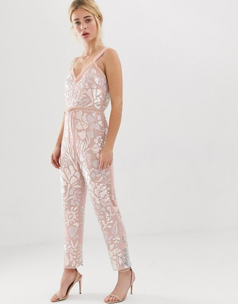 Needle & Thread needle and thread floral embellished jumpsuit with tie waist in rose quartz-pink in pink
