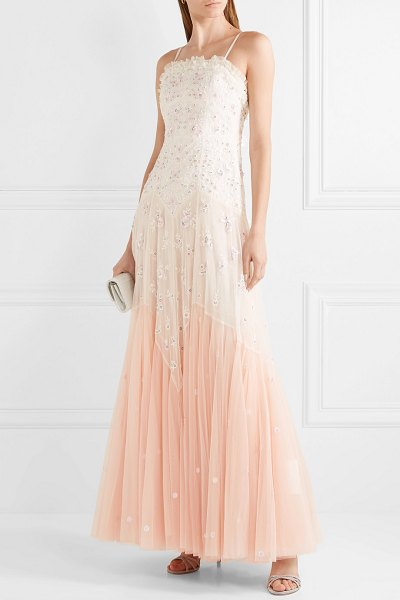 Needle & Thread pearl rose embellished embroidered tulle gown in pink