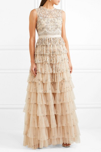 Needle & Thread pearlescent tiered embellished tulle gown in beige - Intricately embellished with sparkling silver beads,...