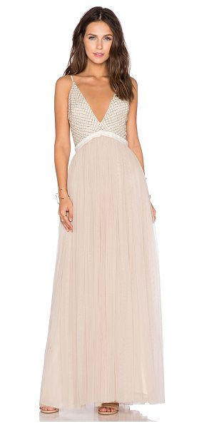 Needle & Thread Plunge v-tulle maxi dress in cream - Nylon blend. Dry clean only. Bust and empire waist...