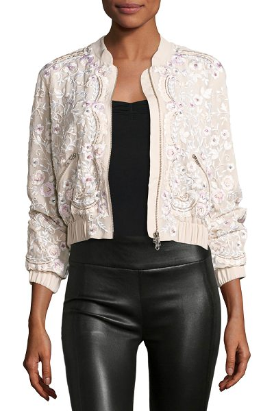 "Needle & Thread Prairie Embroidered Bomber Jacket in pink - Needle & Thread ""Prairie"" bomber jacket with embellished..."