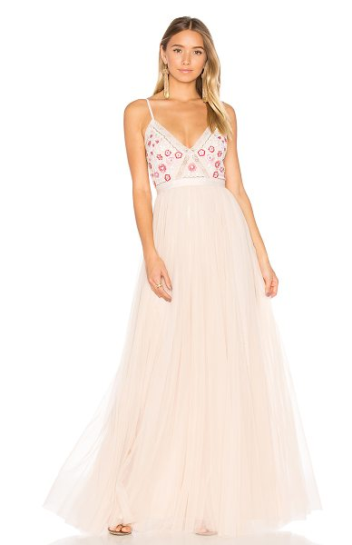 Needle & Thread Prairie Embroidery Maxi Dress in pink - Shell: 100% nylonTrim & Lining: 100% poly. Dry clean...