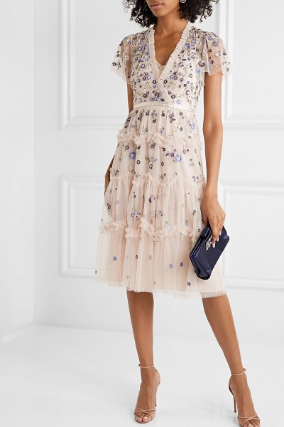 Needle & Thread prairie flora ruffled embellished embroidered tulle dress in pastel pink