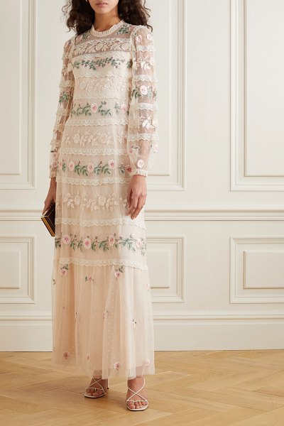 Needle & Thread precious rose sequin-embellished lace-trimmed embroidered tulle gown in neutral