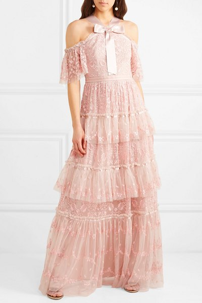 Needle & Thread primrose cold-shoulder tiered embroidered tulle gown in blush