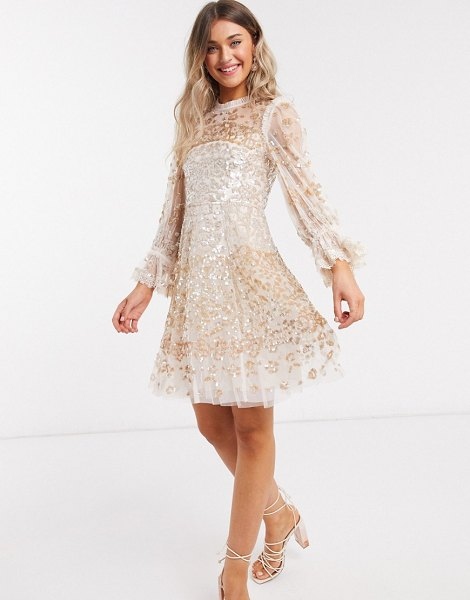 Needle & Thread rose gold embellished mini dress in champagne-cream in cream