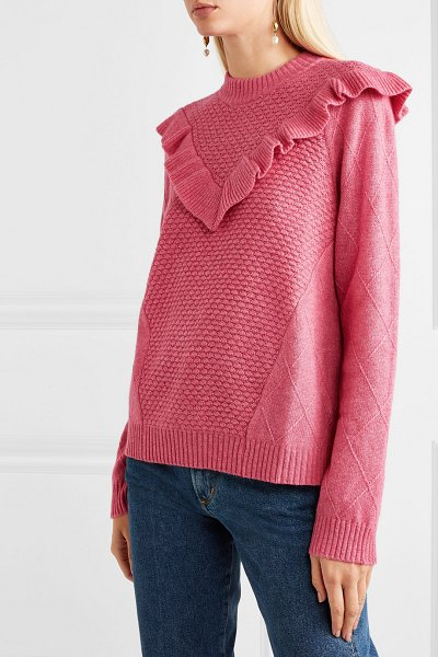 Needle & Thread ruffled knitted sweater in pink - Needle & Thread may be known for its partywear, but the...