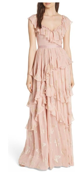 Needle & Thread ruffled lurex butterfly gown in pink - Glistening butterflies add the fluttery feel of this...