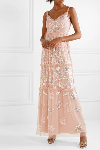 Needle & Thread ruffled sequin-embellished tulle gown in baby pink