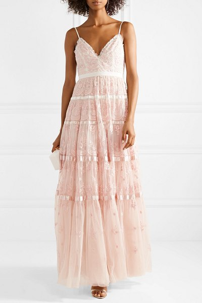 Needle & Thread satin-trimmed embroidered tulle gown in pastel pink