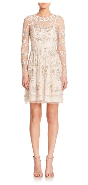 Needle & Thread Sequined semi-sheer long-sleeve dress in beige - Sheer detailing and lustrous, sequined embroidery...