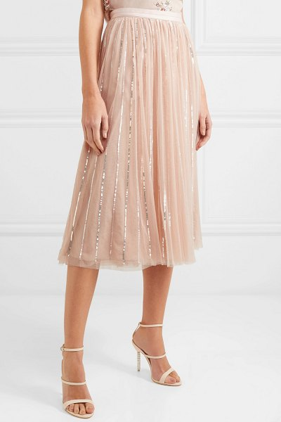 Needle & Thread sequin-embellished tulle midi skirt in pink