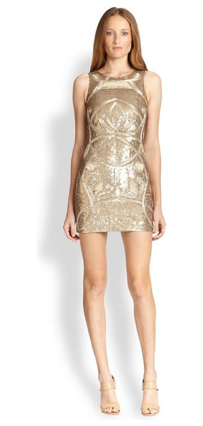 Needle & Thread Sheer-paneled beaded dress in gold - Peeks of sheer chiffon lend the subtlest hint of allure...