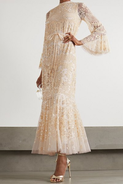 Needle & Thread snowdrop sequin-embellished tulle gown in pink