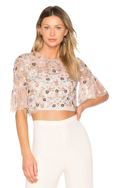 Needle & Thread Starburst Top in pink - 100% poly. Dry clean only. Sheer mesh overlay. Bead and...